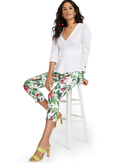 Whitney High-Waisted Pull-On Slim-Leg Capri Pant - Botanical - New York & Company