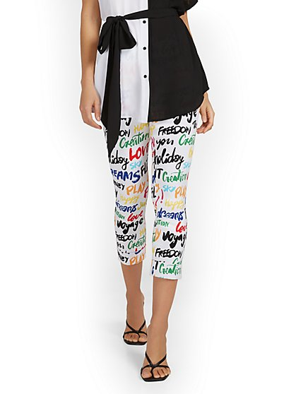 Whitney High-Waisted Pull-On Slim-Leg Capri Pant - Script-Print - New York & Company