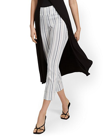 Whitney High-Waisted Pull-On Slim-Leg Capri Pant - Stripe - New York & Company