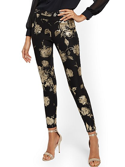 Whitney High-Waisted Pull-On Slim-Leg Pant - Black - 7th Avenue - New York & Company