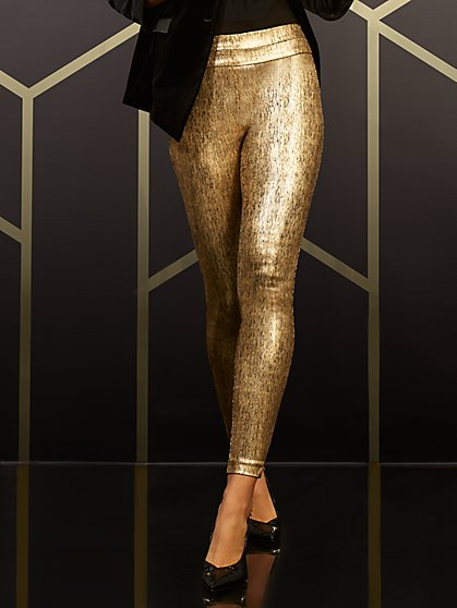 Whitney High-Waisted Pull-On Slim-Leg Pant - Gold - New York & Company