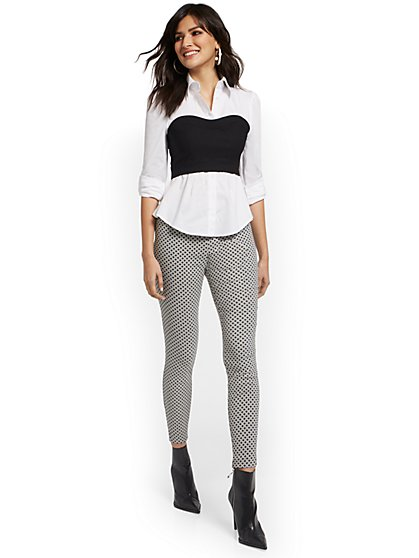 Whitney High-Waisted Pull-On Slim-Leg Pant - Grid - New York & Company