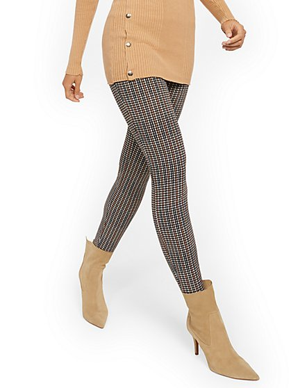 Whitney High-Waisted Pull-On Slim-Leg Pant - Plaid - 7th Avenue - New York & Company