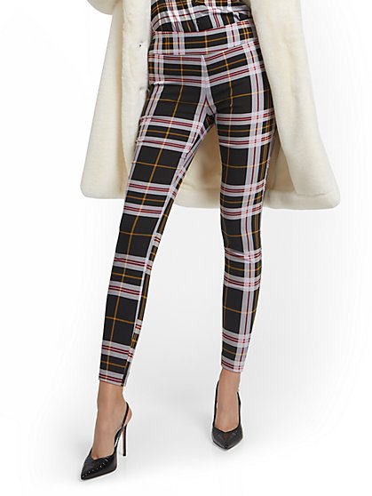 Whitney High-Waisted Pull-On Slim-Leg Pant - Plaid - New York & Company