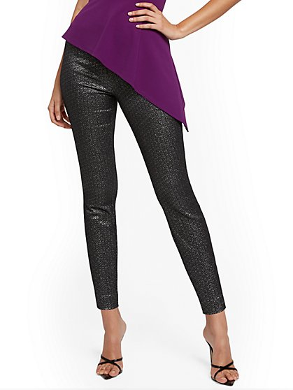 Whitney High-Waisted Pull-On Straight-Leg Pant - Black Jacquard - 7th Avenue - New York & Company