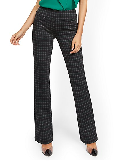 Whitney High-Waisted Pull-On Straight-Leg Pant - Green Plaid Ponte - New York & Company