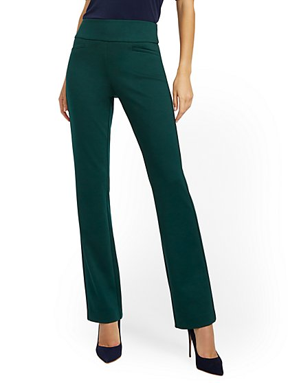 Whitney High-Waisted Pull-On Straight-Leg Pant - Green Ponte - 7th Avenue - New York & Company