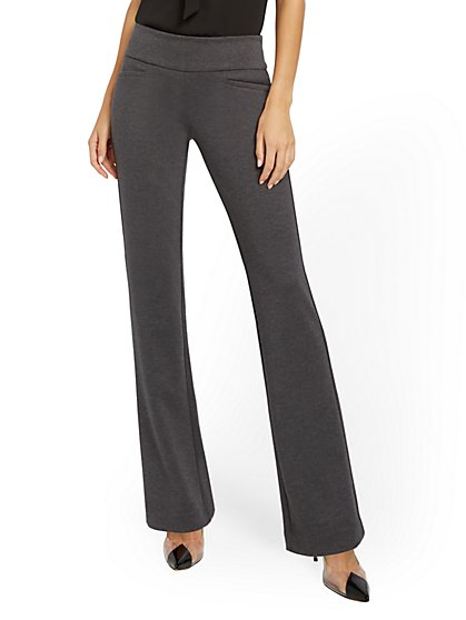 Whitney High-Waisted Pull-On Straight-Leg Pant - Grey Ponte - New York & Company