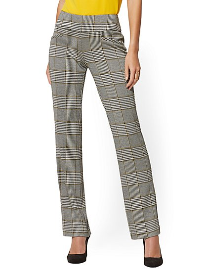 Whitney High-Waisted Pull-On Straight-Leg Pant - Houndstooth Ponte - 7th Avenue - New York & Company