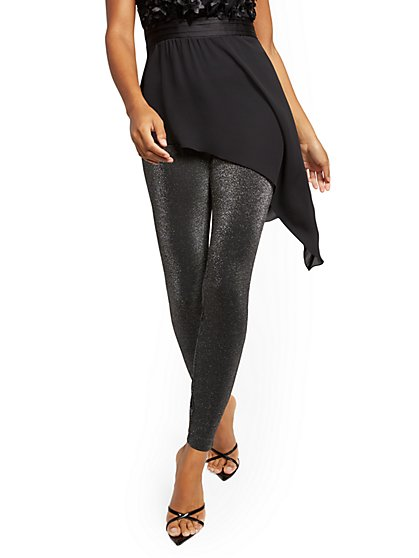 Whitney High-Waisted Pull-On Straight-Leg Pant - Metallic - 7th Avenue - New York & Company