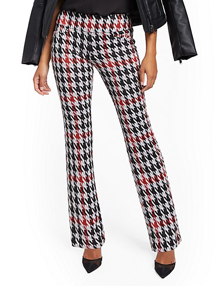 Whitney High-Waisted Pull-On Straight-Leg Pant - Patterned - Ponte - 7th Avenue - New York & Company
