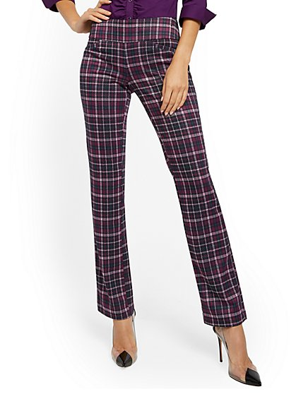 Whitney High-Waisted Pull-On Straight-Leg Pant - Plaid Ponte - 7th Avenue - New York & Company