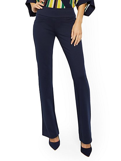 Whitney High-Waisted Pull-On Straight-Leg Pant - Ponte - 7th Avenue - New York & Company