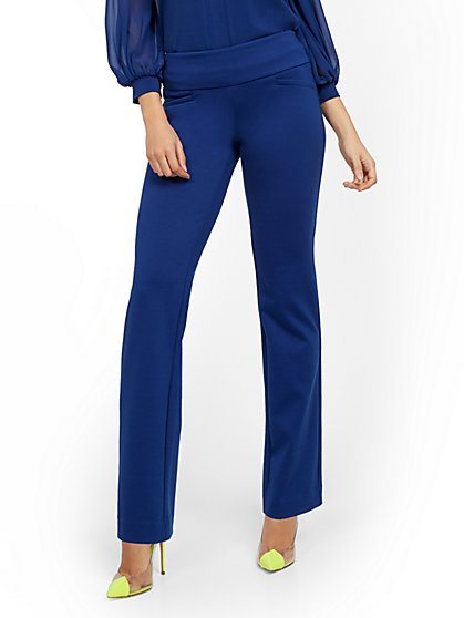Whitney High-Waisted Pull-On Straight-Leg Pant - Ponte - New York & Company