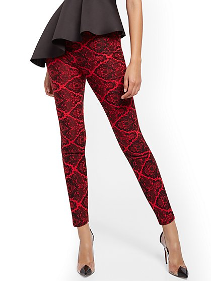 Whitney High-Waisted Pull-On Straight-Leg Pant - Red Brocade - 7th Avenue - New York & Company