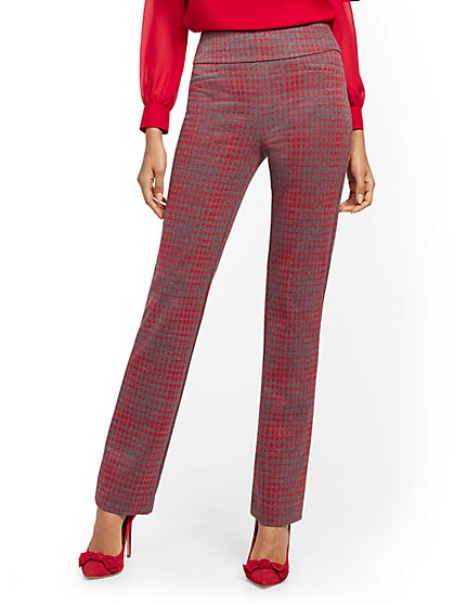 Whitney High-Waisted Pull-On Straight-Leg Pant - Red Plaid - New York & Company
