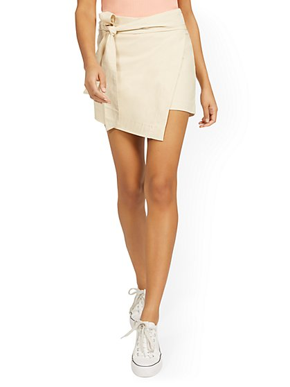 Whitney High-Waisted Tie-Front Skort - New York & Company