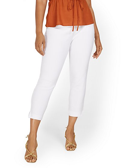 Whitney High-Waisted Tummy Control Pull-On Slim-Leg Capri Pant - White - New York & Company
