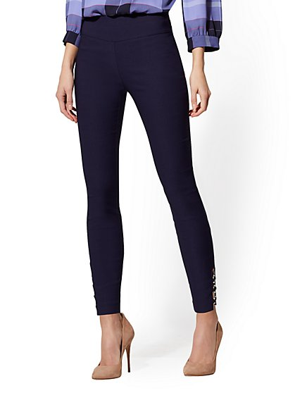 Whitney O-Ring High-Waisted Pull-On Ankle Pant - New York & Company