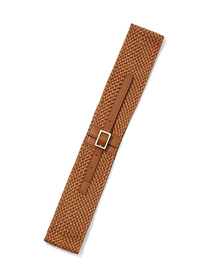 Wide Faux-Leather Woven Belt - New York & Company