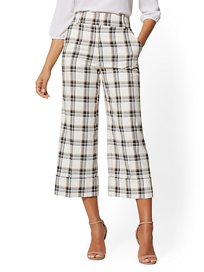 Wide-Leg Crop Pant - Plaid - 7th Avenue - New York & Company