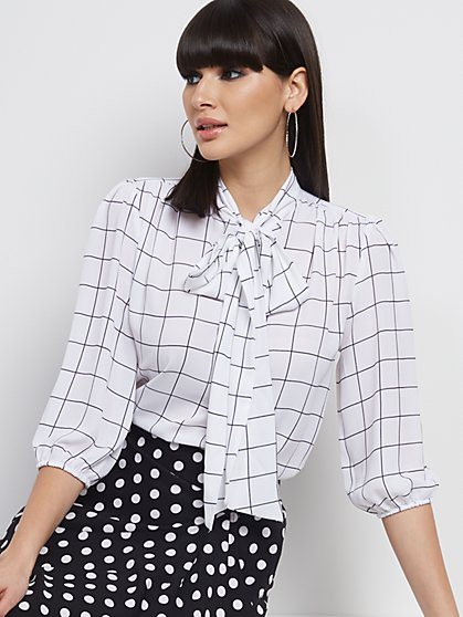Windowpane-Check Bow Blouse - 7th Avenue - New York & Company
