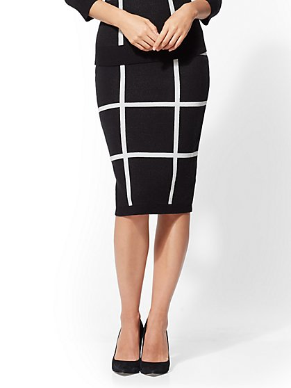 Windowpane-Check Sweater Skirt - New York & Company