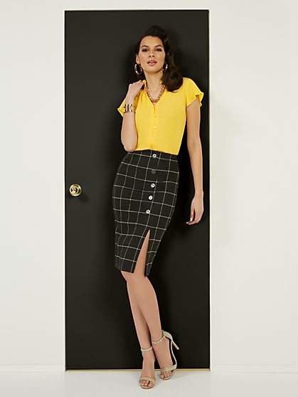 Windowpane High-Waisted Pencil Skirt - Superflex - New York & Company