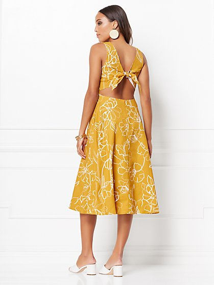 9f24b118ae73 ... Winona Floral Tie-Back Linen Flare Dress - Eva Mendes Collection - New  York ...