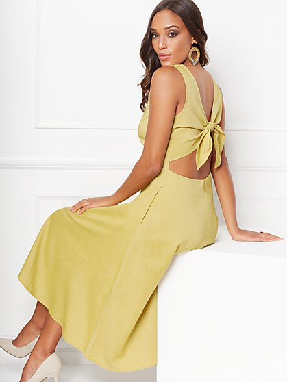 367b7f6891 Winona Tie-Back Linen Flare Dress - Eva Mendes Collection - New York &  Company ...
