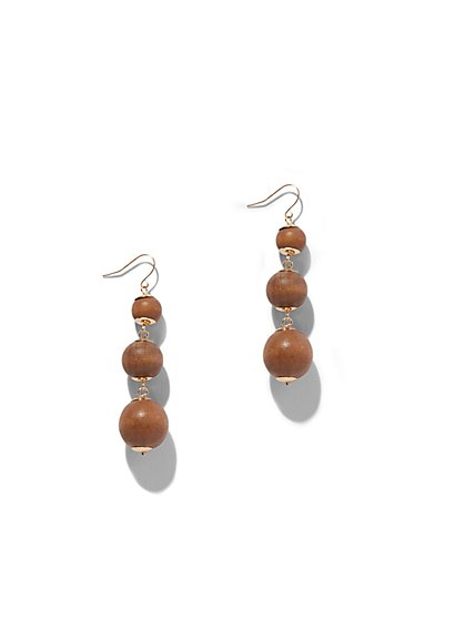 Wooden Beaded Drop Earring - New York & Company