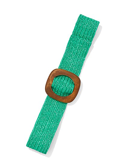 Wooden-Buckle Raffia Belt - New York & Company