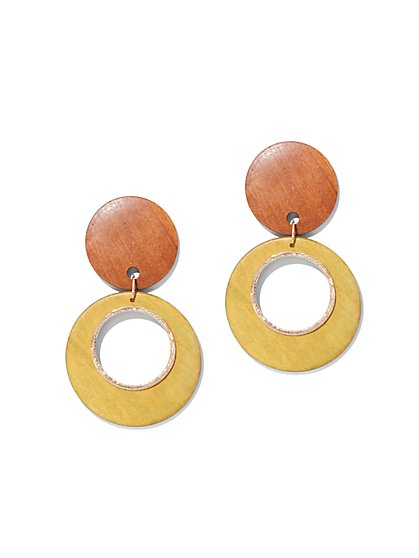 Wooden Circular Drop Earring - New York & Company