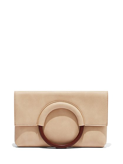 Wooden-Handle Foldover Clutch Bag - New York & Company