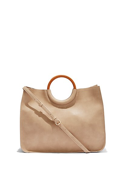 Wooden-Handle Tote Bag - New York & Company