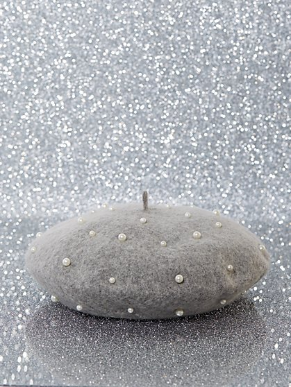 Wool-Blend Faux-Pearl Beret - New York & Company