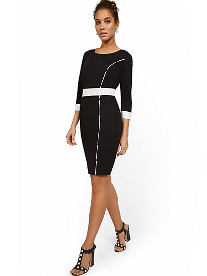 Work Leisure Colorblock Sheath Dress - Magic Crepe® - New York & Company