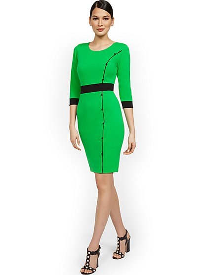 Work Leisure Pom-Front Sheath Dress - Magic Crepe® - New York & Company