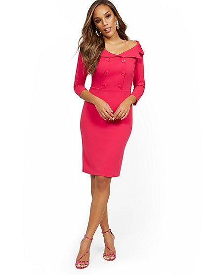 Work Leisure Shawl-Collar Dress - Magic Crepe® - New York & Company