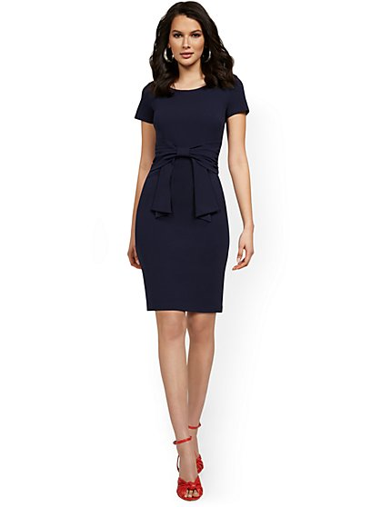 Work Leisure Tie-Front Sheath Dress - Magic Crepe® - New York & Company