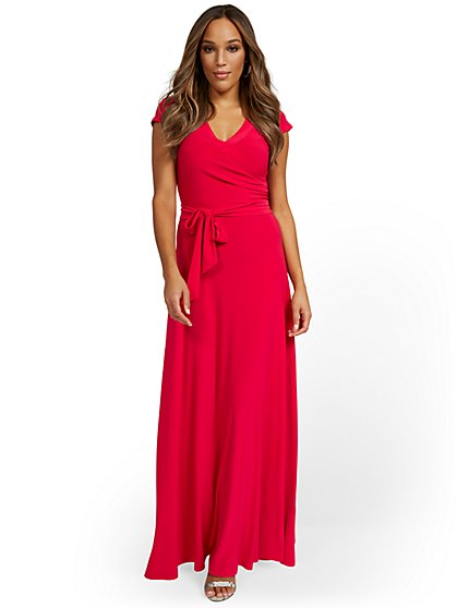 Wrap V-Neck Maxi Dress - New York & Company