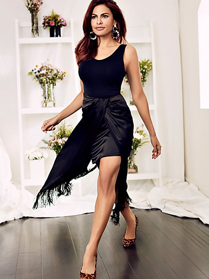 Yalitza Black Fringed Wrap Skirt - Eva Mendes Collection - New York & Company