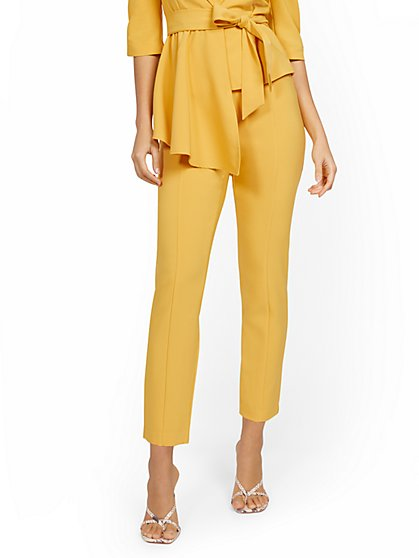 Yellow Back-Zip Straight-Leg Pant - 7th Avenue - New York & Company