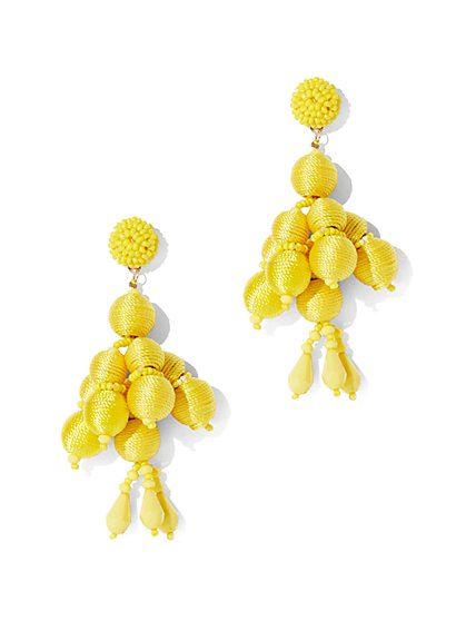 Yellow Beaded Drop Earring New York Company