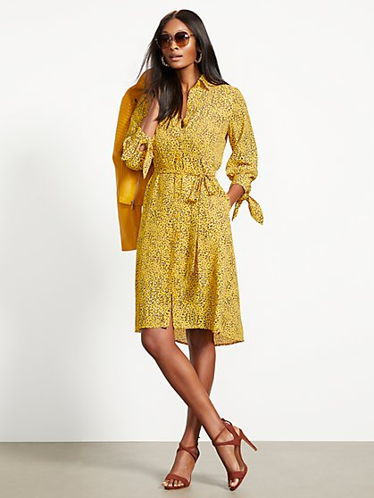 Yellow Belted Shirtdress - New York & Company