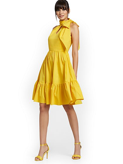 Yellow Bow-Neck Halter Dress - New York & Company