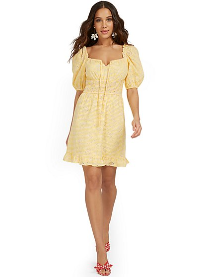 Yellow Embroidered Puff-Sleeve Gingham Dress - New York & Company