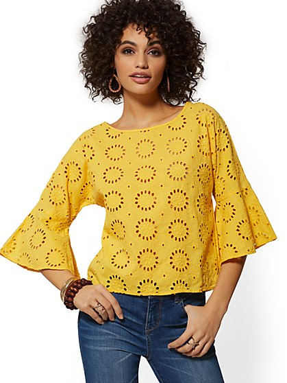c1a3bdf837 Yellow Eyelet Bell-Sleeve Top - New York   Company ...