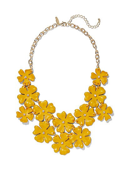 Yellow Floral Bib Statement Necklace - New York & Company
