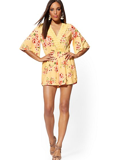 Yellow Floral Crochet-Trim Wrap Romper - New York & Company